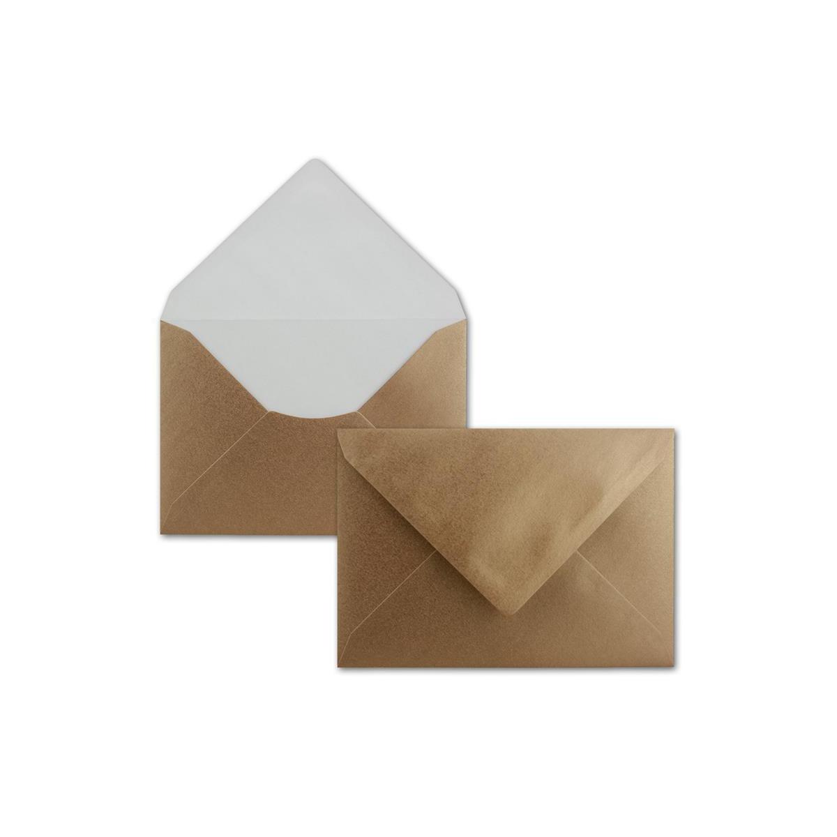 25 Stück//Paket Briefumschläge mit Seidenfutter weiß DIN C6