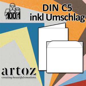 Serie 1001 gerippt 120 x 169 mm Klappkarten blanko Blau Pastellblau ARTOZ 50x DIN B6 Faltkarten Karten zum selbstgestalten mit 220 g//m/² edle Egoutteur-Rippung